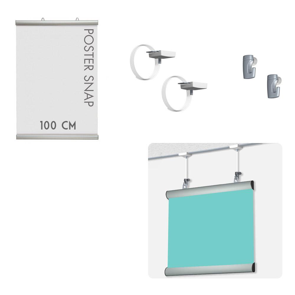 Kit Poster Snap 100 cm + Ceiling hanger - Système de suspension d'affiche pour faux plafond