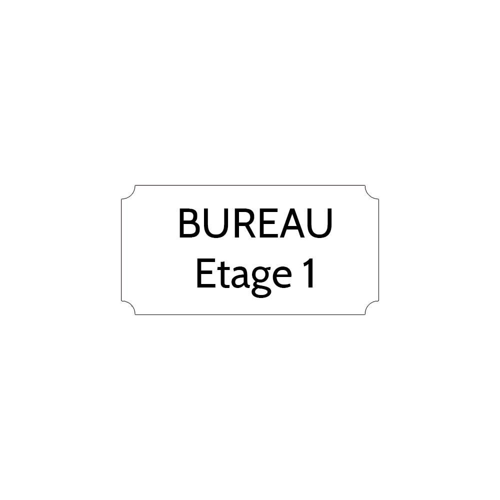 Plaque de porte gravée sur 1 à 2 lignes couleur blanche lettres noires - Format rectangle classique 75 x 150 mm