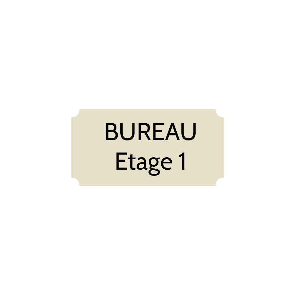 Plaque de porte gravée sur 1 à 2 lignes couleur beige lettres noires - Format rectangle classique 75 x 150 mm