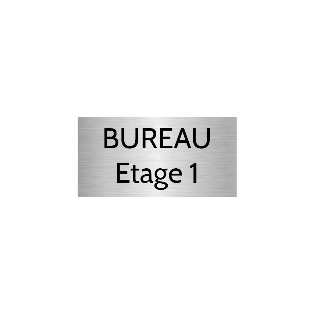 Plaque de porte gravée sur 1 à 2 lignes couleur gris argent lettres noires - Format rectangle 75 x 150 mm