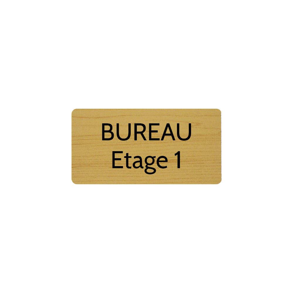 Plaque de porte gravée sur 1 à 2 lignes effet bois clair lettres noires - Rectangle angles arrondis 75 x 150 mm
