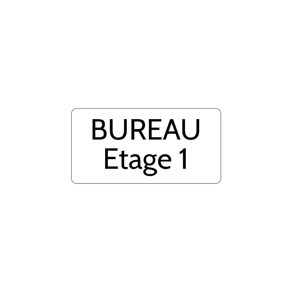 Plaque de porte gravée sur 1 à 2 lignes couleur blanche lettres noires - Rectangle angles arrondis 75 x 150 mm