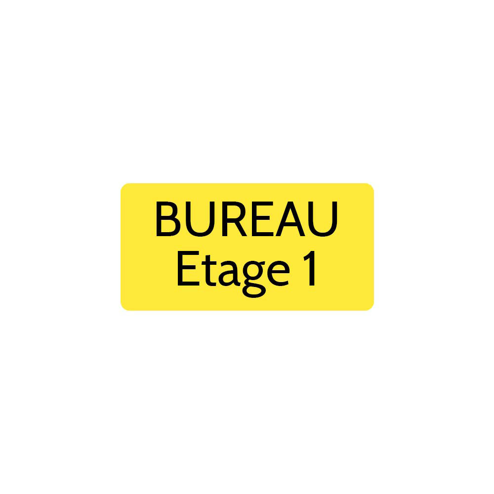 Plaque de porte gravée sur 1 à 2 lignes couleur jaune lettres noires - Rectangle angles arrondis 75 x 150 mm