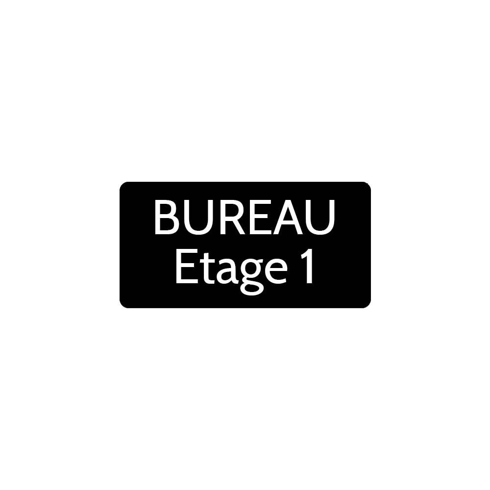 Plaque de porte gravée sur 1 à 2 lignes couleur noire lettres blanches - Rectangle angles arrondis 75 x 150 mm