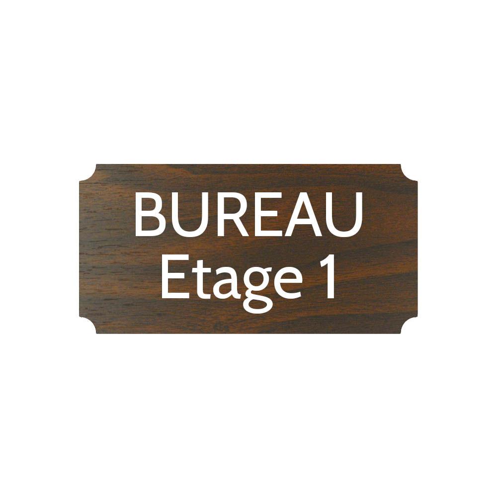 Plaque de porte gravée sur 1 à 2 lignes effet bois foncé lettres blanches - Format rectangle classique 100 x 200 mm