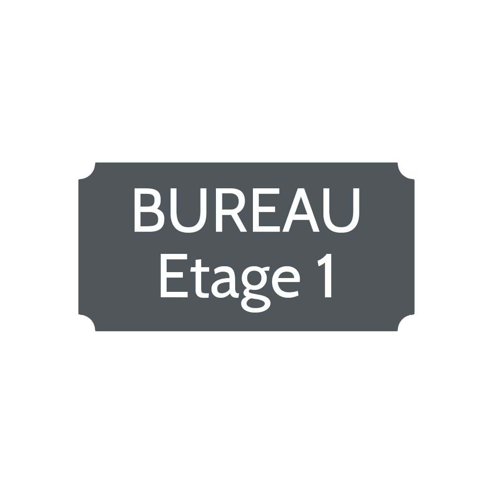 Plaque de porte gravée sur 1 à 2 lignes couleur grise lettres blanches - Format rectangle classique 100 x 200 mm
