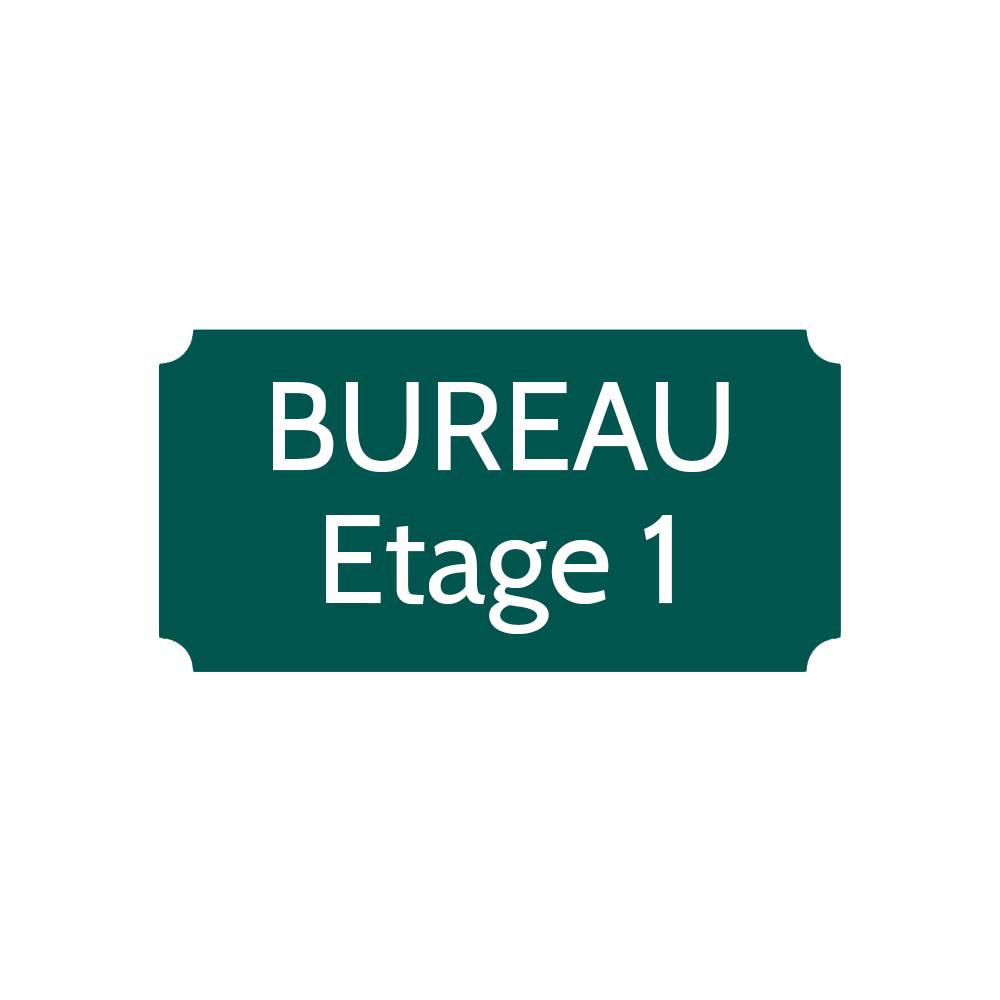 Plaque de porte gravée sur 1 à 2 lignes couleur vert foncé lettres blanches - Format rectangle classique 100 x 200 mm
