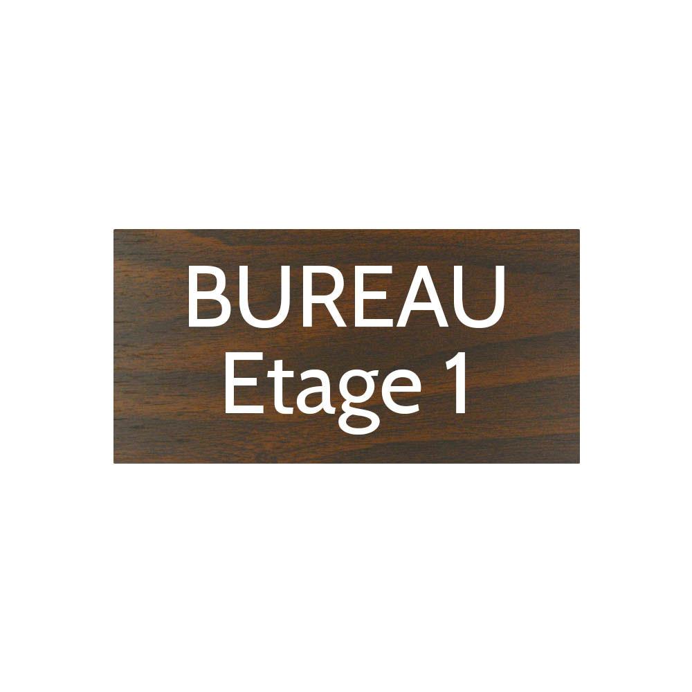 Plaque de porte gravée sur 1 à 2 lignes effet bois foncé lettres blanches - Format rectangle 100 x 200 mm