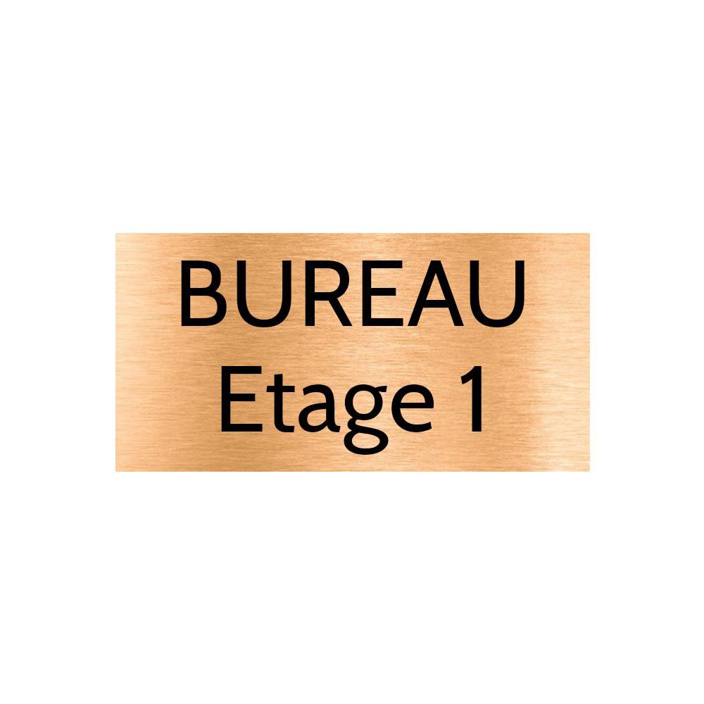 Plaque de porte gravée sur 1 à 2 lignes couleur cuivre lettres noires - Format rectangle 100 x 200 mm