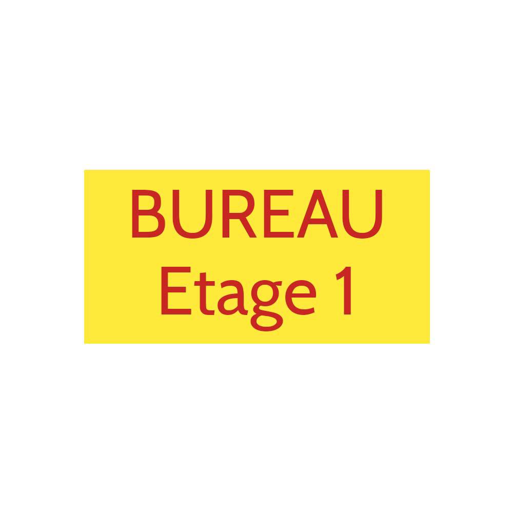 Plaque de porte gravée sur 1 à 2 lignes couleur Jaune lettres rouges - Format rectangle 100 x 200 mm
