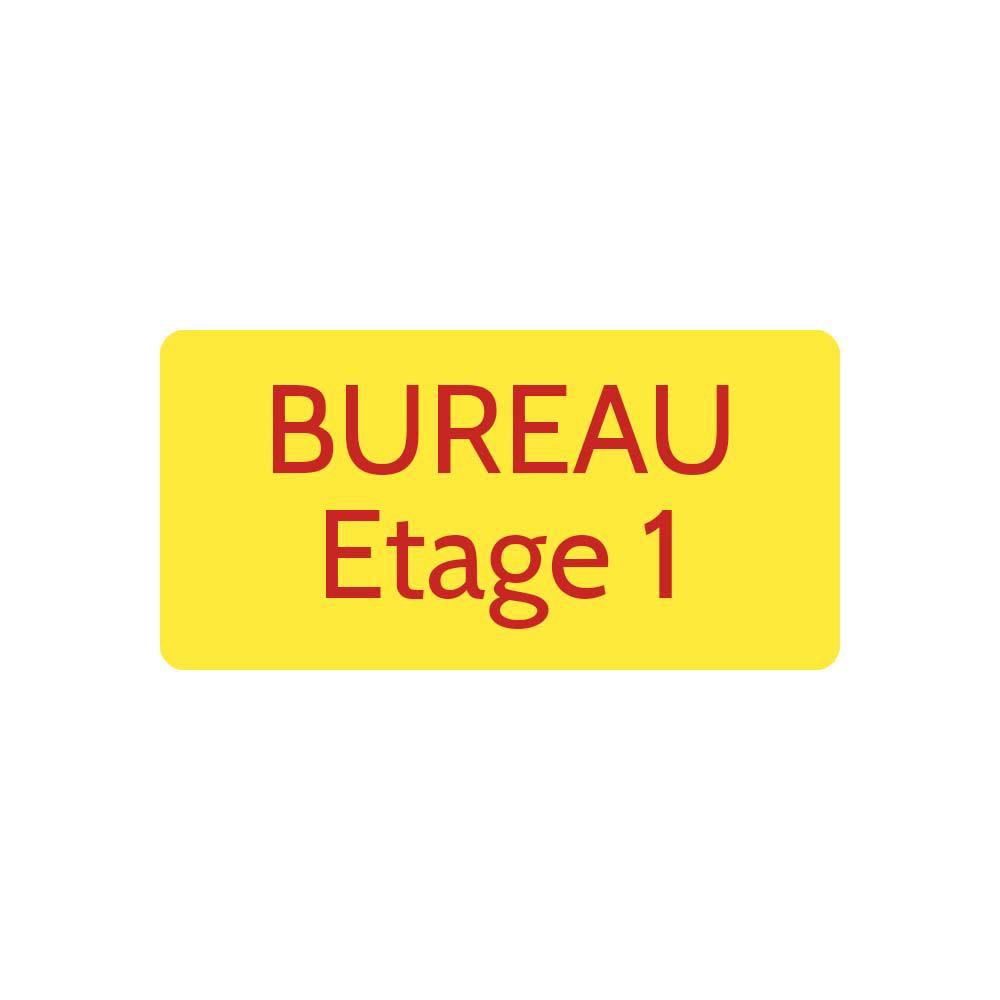 Plaque de porte gravée sur 1 à 2 lignes couleur Jaune lettres rouges - Rectangle angles arrondis 100 x 200 mm