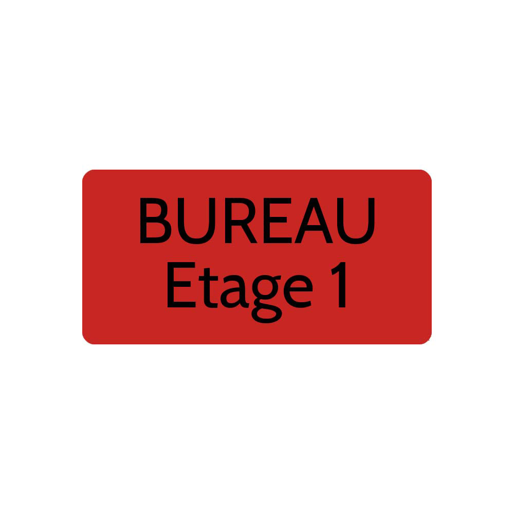 Plaque de porte gravée sur 1 à 2 lignes couleur rouge lettres noires - Rectangle angles arrondis 100 x 200 mm