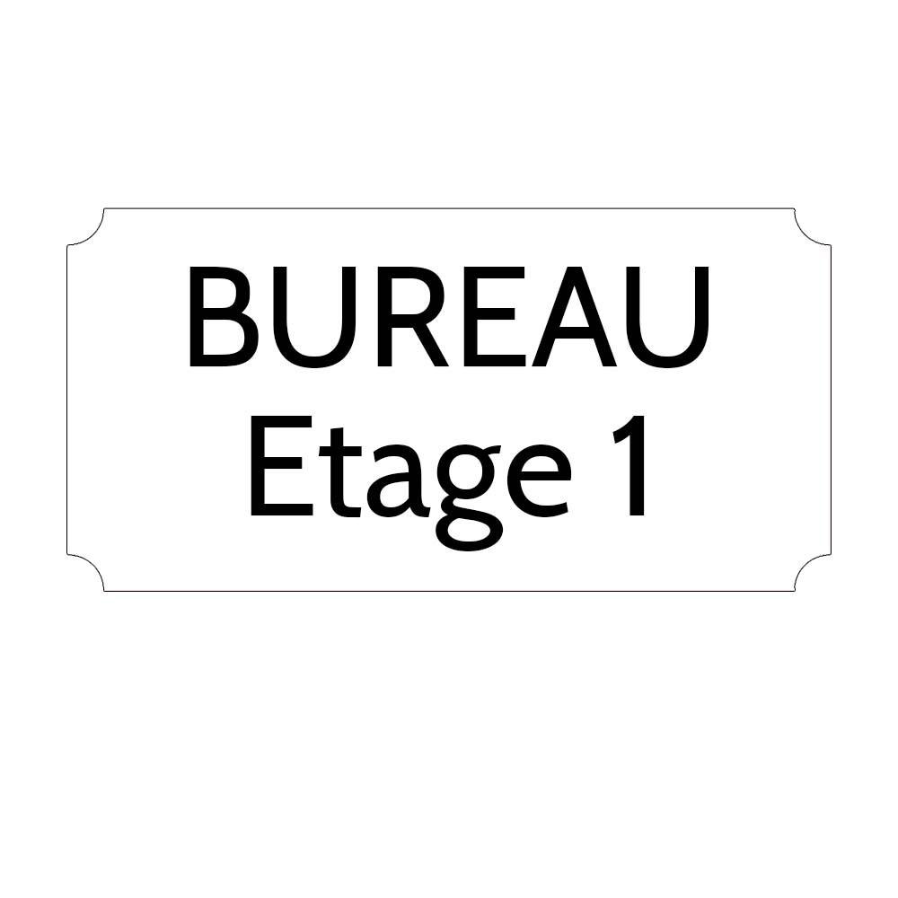 Plaque de porte gravée sur 1 à 2 lignes couleur blanche lettres noires - Rectangle classique 125 x 250 mm