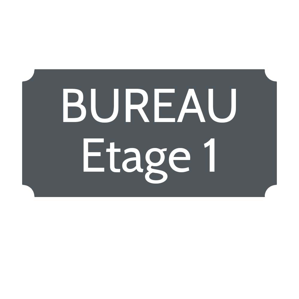 Plaque de porte gravée sur 1 à 2 lignes couleur grise lettres blanches - Rectangle classique 125 x 250 mm