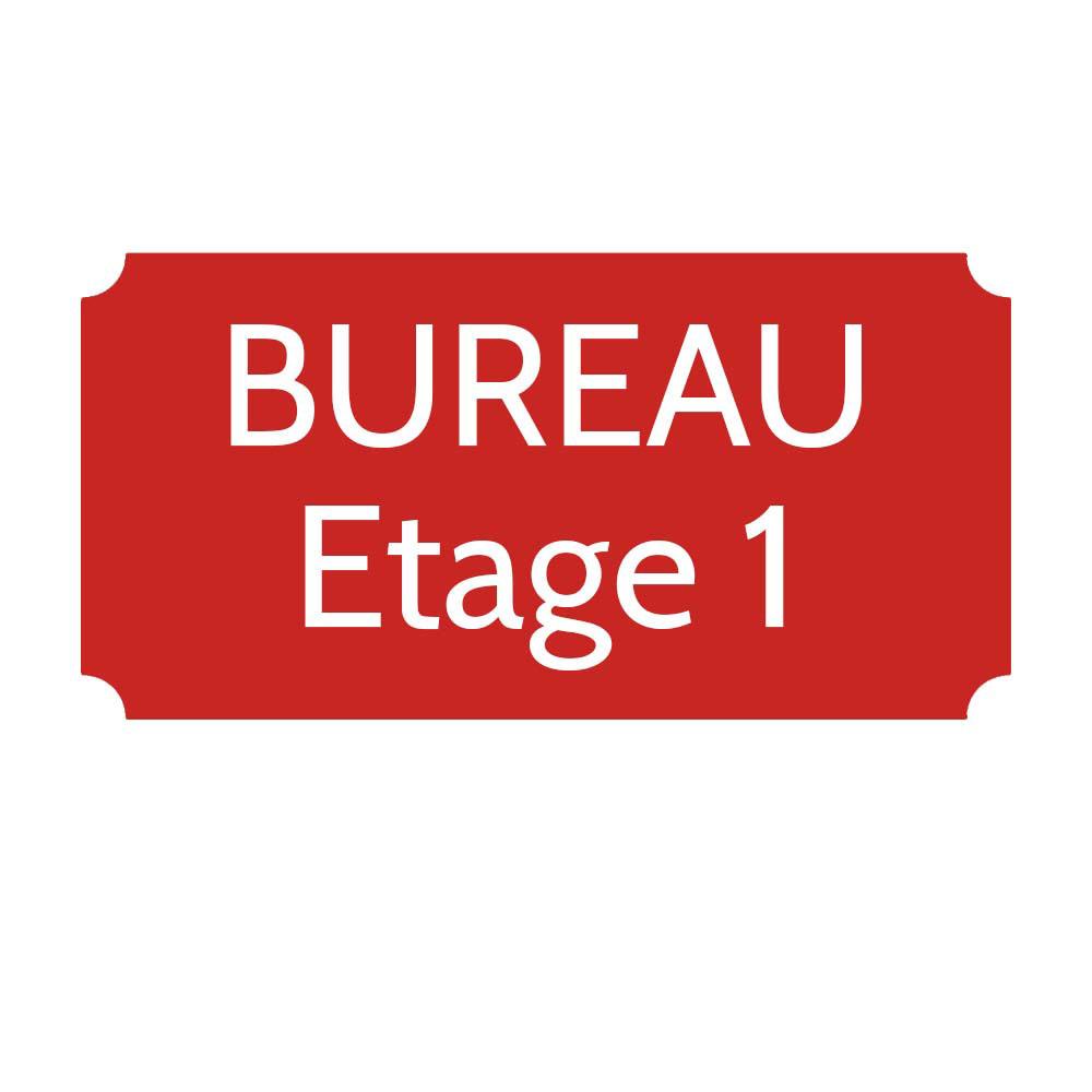 Plaque de porte gravée sur 1 à 2 lignes couleur rouge lettres blanches - Rectangle classique 125 x 250 mm