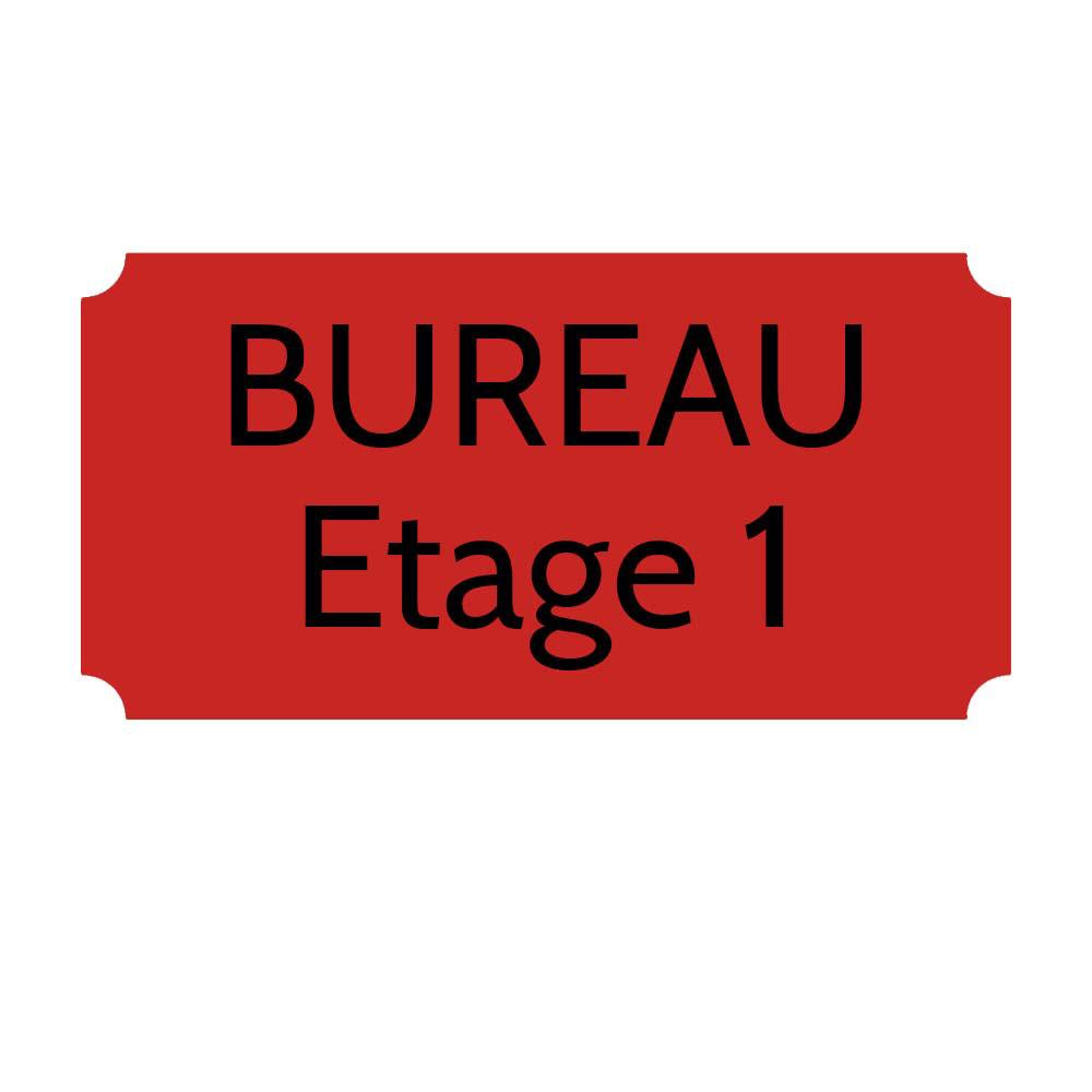 Plaque de porte gravée sur 1 à 2 lignes couleur rouge lettres noires - Rectangle classique 125 x 250 mm