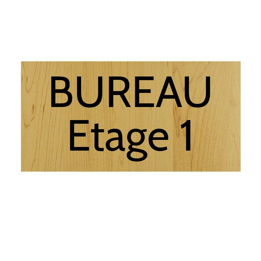 Plaque de porte gravée sur 1 à 2 lignes effet bois clair lettres noires - Format rectangle 125 x 250 mm