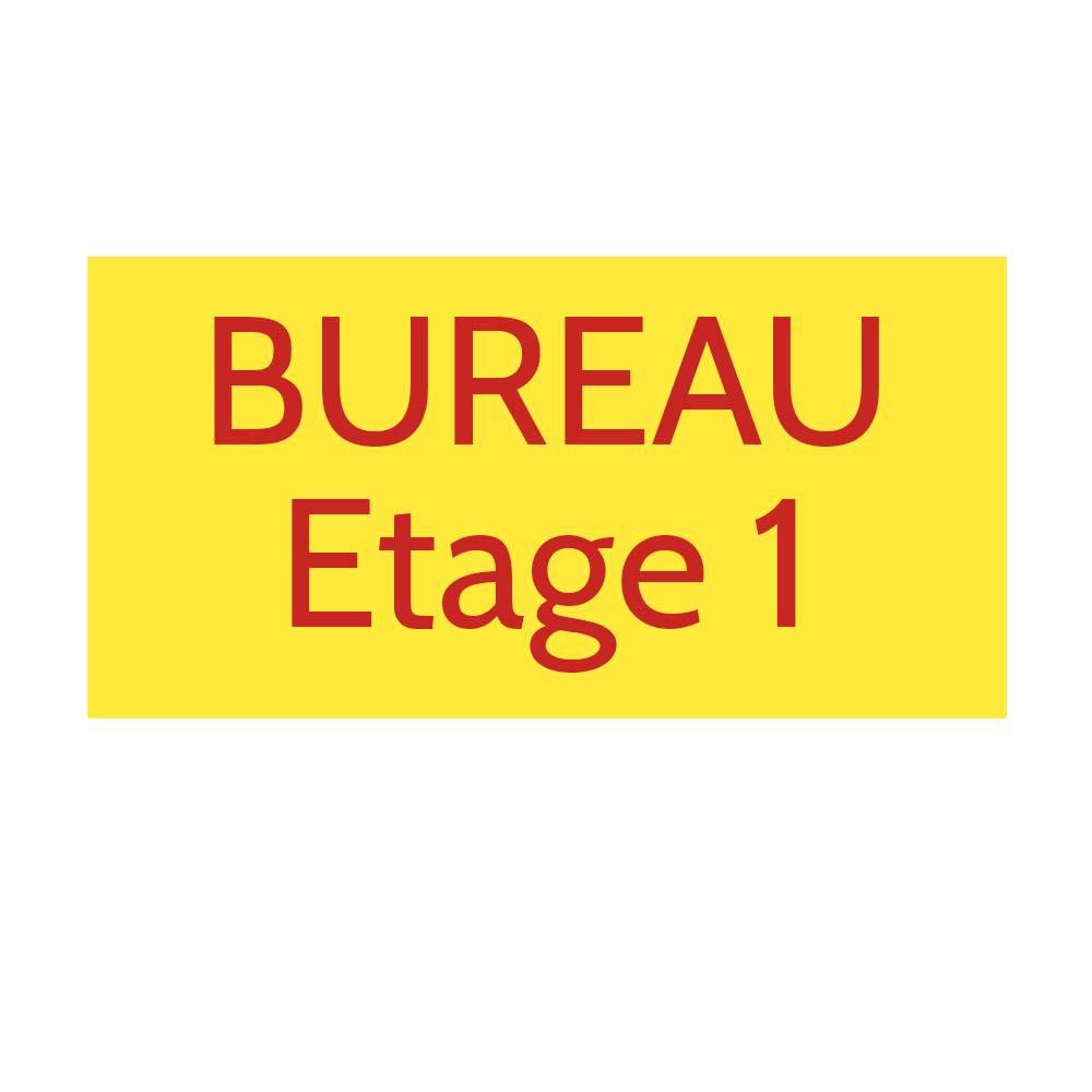 Plaque de porte gravée sur 1 à 2 lignes couleur Jaune lettres rouges - Format rectangle 125 x 250 mm
