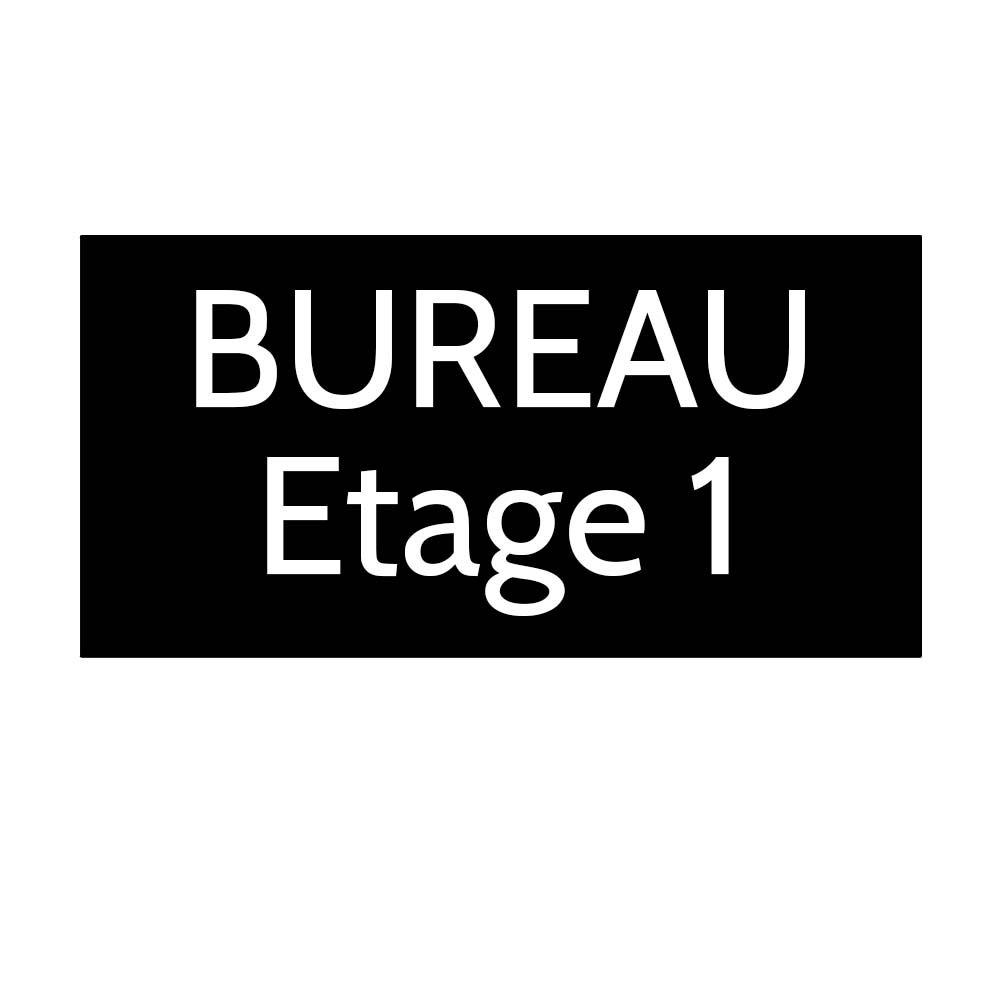 Plaque de porte gravée sur 1 à 2 lignes couleur noire lettres blanches - Format rectangle 125 x 250 mm