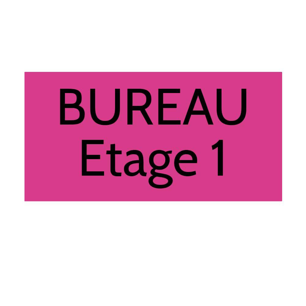Plaque de porte gravée sur 1 à 2 lignes couleur rose lettres noires - Format rectangle 125 x 250 mm