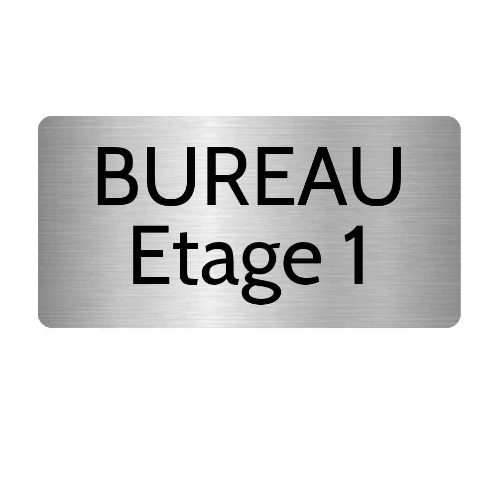 Plaque de porte gravée sur 1 à 2 lignes couleur gris argent lettres noires - Rectangle angles arrondis 125 x 250 mm