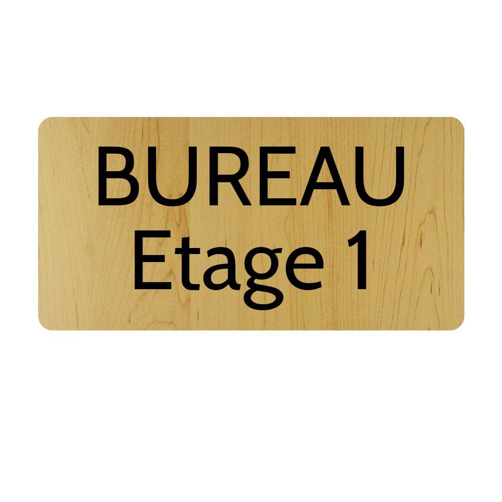 Plaque de porte gravée sur 1 à 2 lignes effet bois clair lettres noires - Rectangle angles arrondis 125 x 250 mm