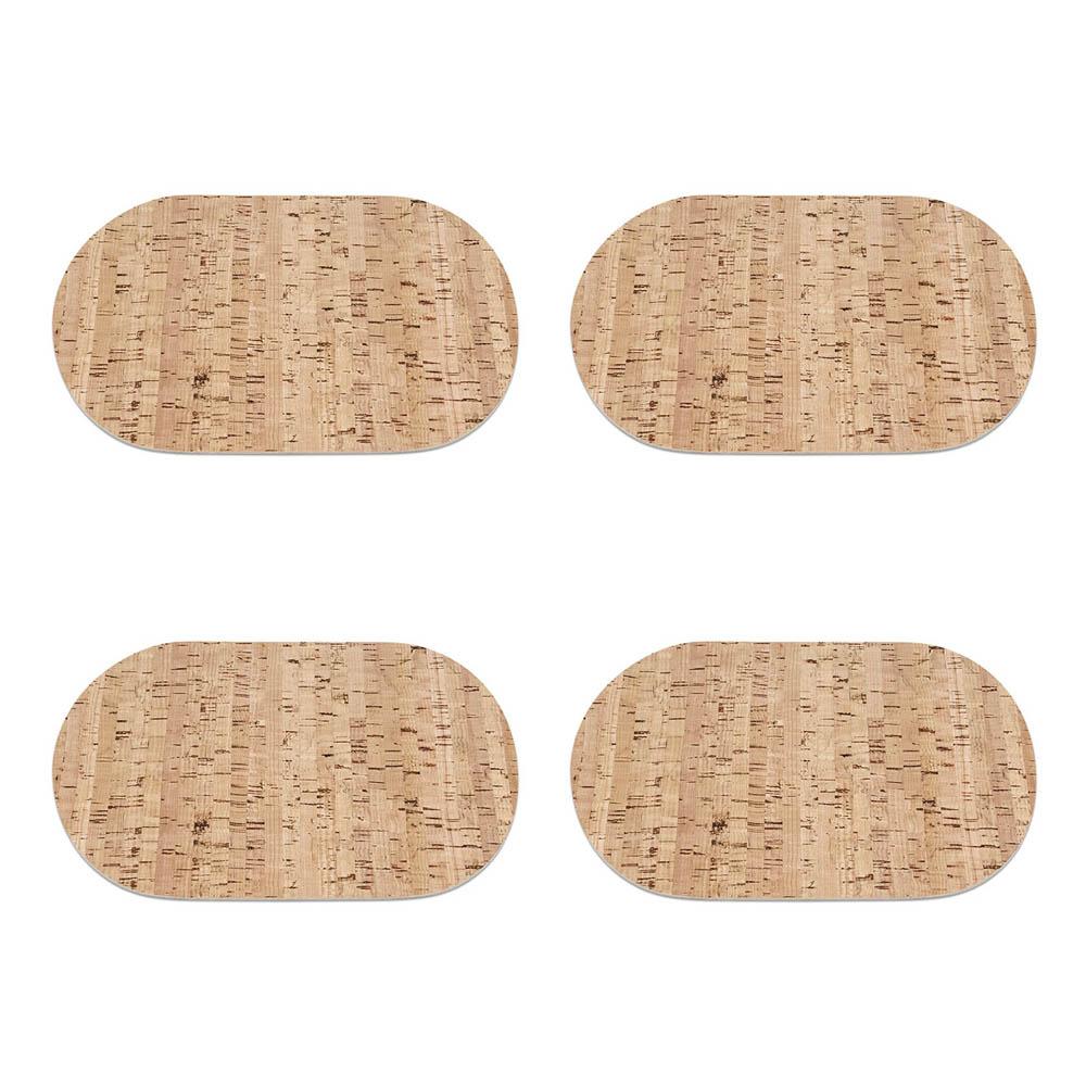 4 sets de table ovales en liège (30 cm x 20 cm) pour petit déjeuner - Art de la table