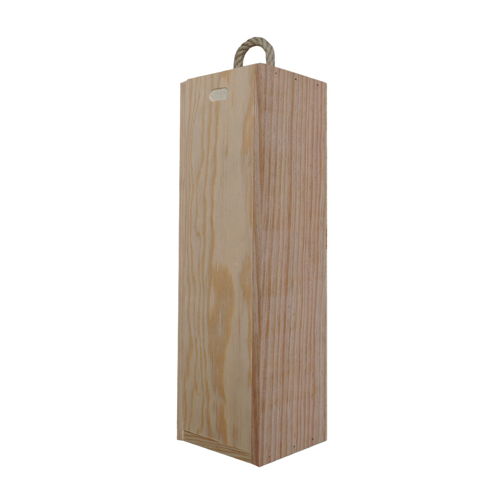 Caisse à vin en bois personnalisée pour 1 bouteille - Ouverture à glissière - Modèle Frais comme le rosé du matin