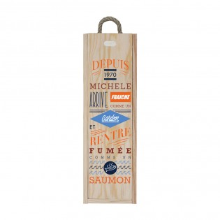 Customized wooden wine case for 1 bottle - Zippered opening - Fresh as a roach model