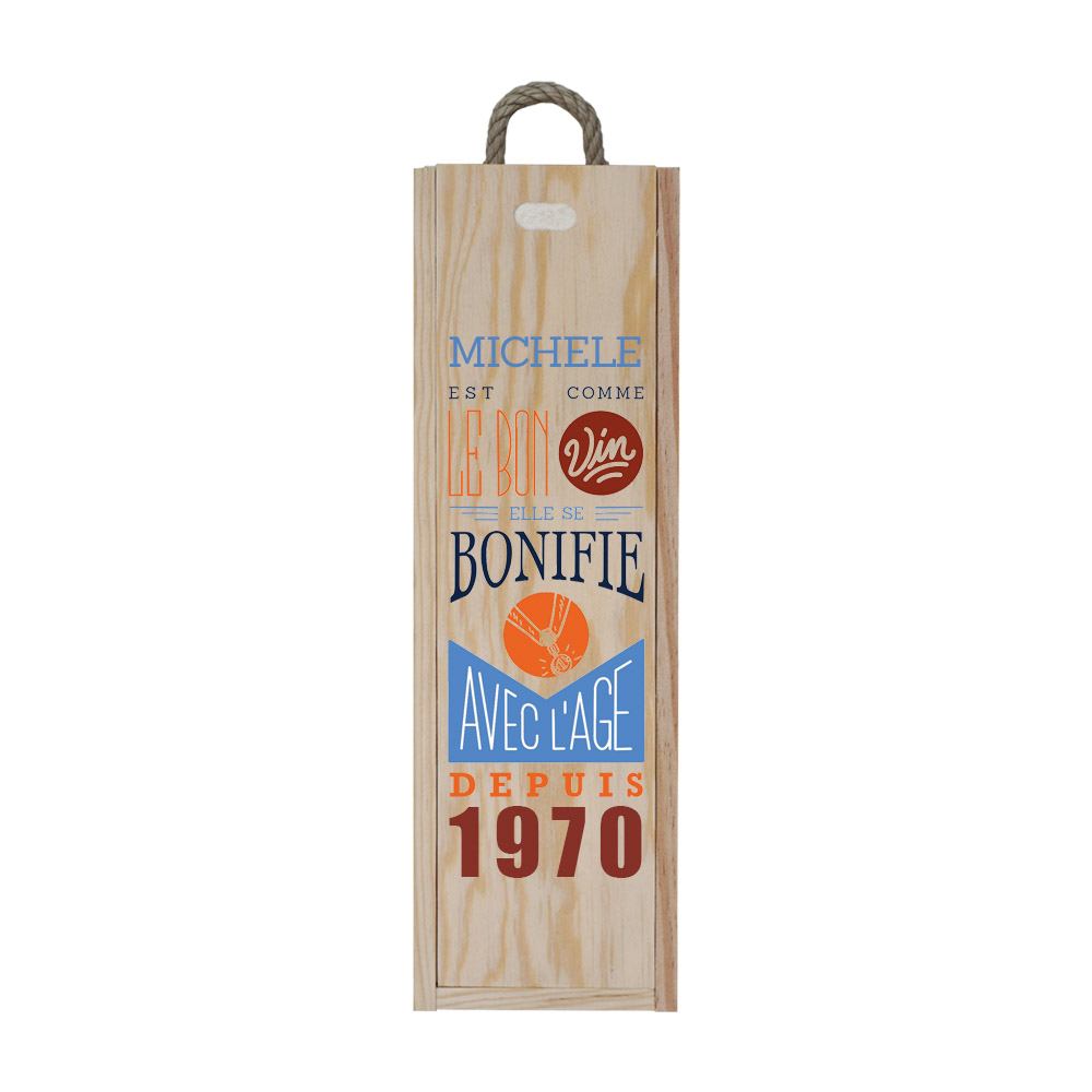 Customized wooden wine case for 1 bottle - Zippered opening - Comme le bon vin Model