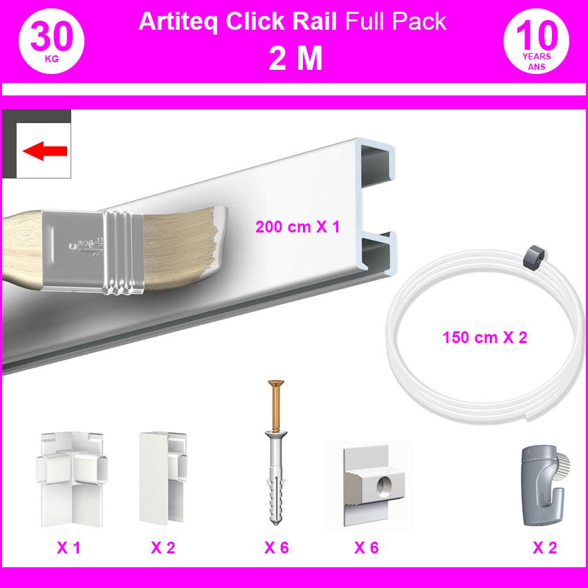 Pack Eco 2 mètres de cimaise Click Rail couleur Blanc (peut être peint) - Solution suspension cadres et tableaux