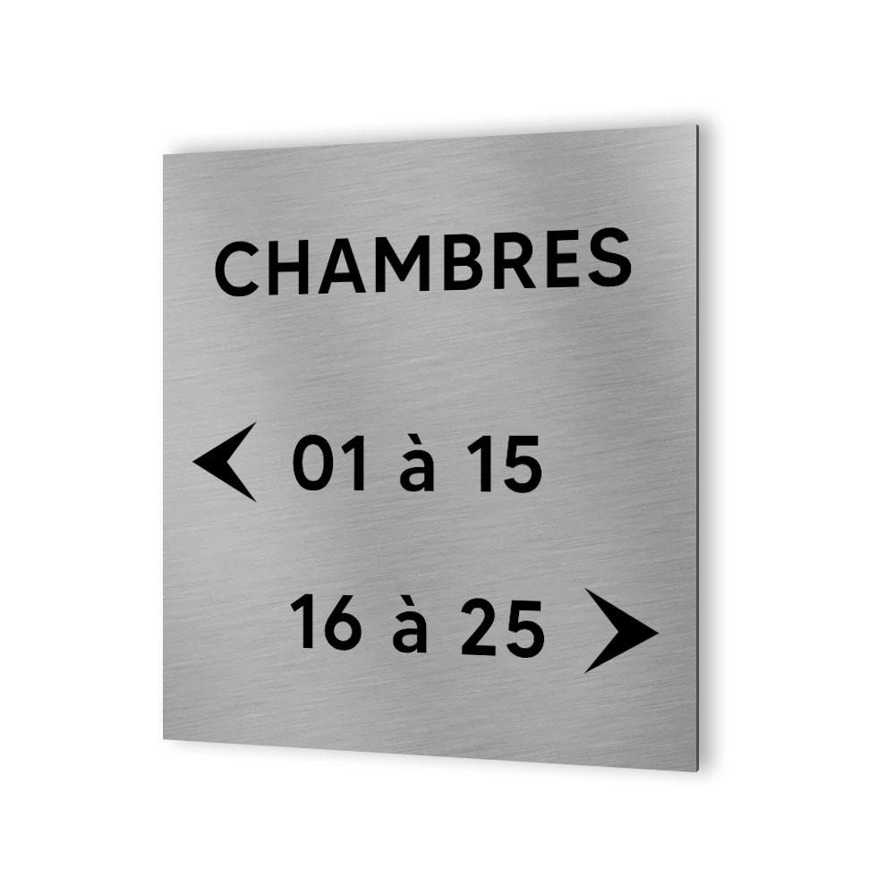 Panneau numéros de chambres pour hôtel, immeuble - Format 20 cm x 20 cm en Dibond Aluminium brossé -  Numéros personnalisables