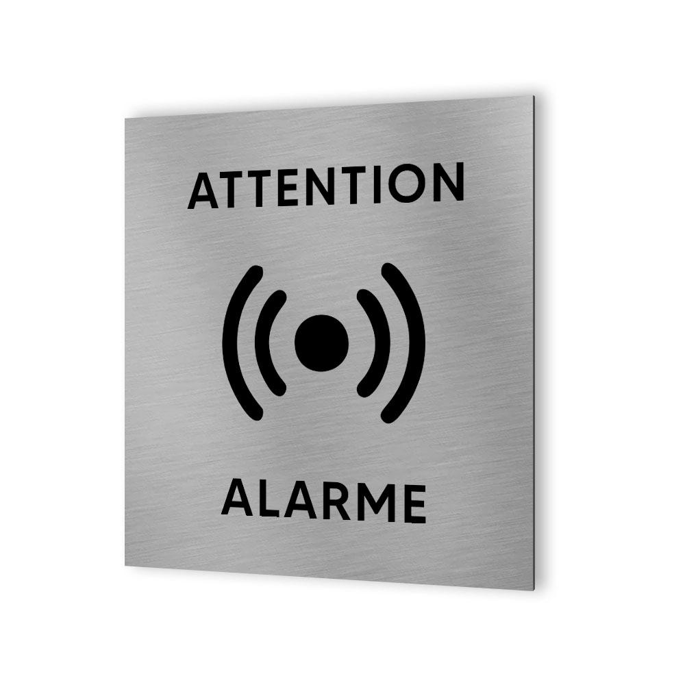 Pictogramme panneau signalétique format 20 cm x 20 cm en Dibond Aluminium brossé - Modèle Alarme