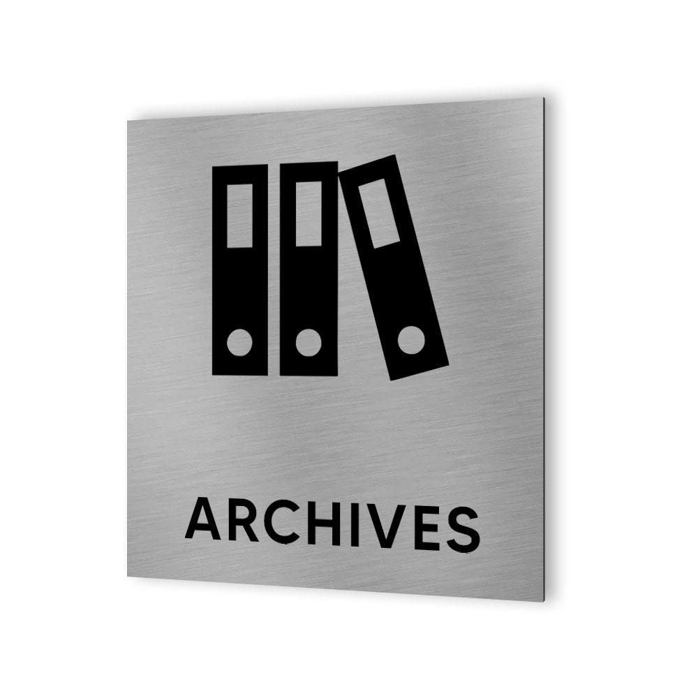 Pictogramme panneau signalétique format 20 cm x 20 cm en Dibond Aluminium brossé - Modèle Archives