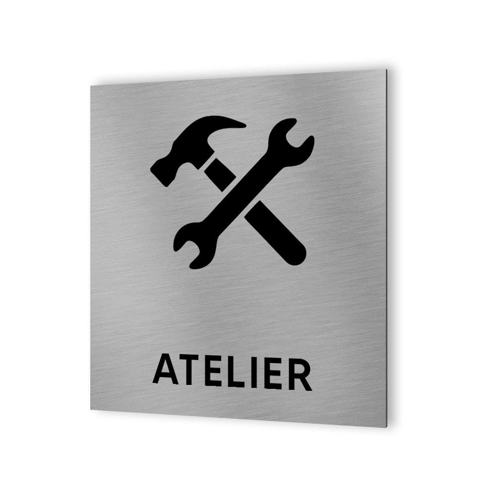 Pictogramme panneau signalétique format 20 cm x 20 cm en Dibond Aluminium brossé - Modèle Atelier