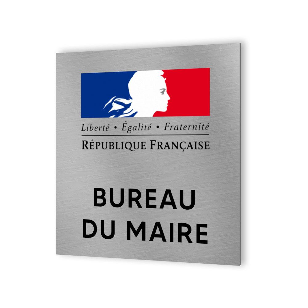 Pictogramme panneau signalétique format 20 cm x 20 cm en Dibond Aluminium brossé - Modèle Bureau du maire