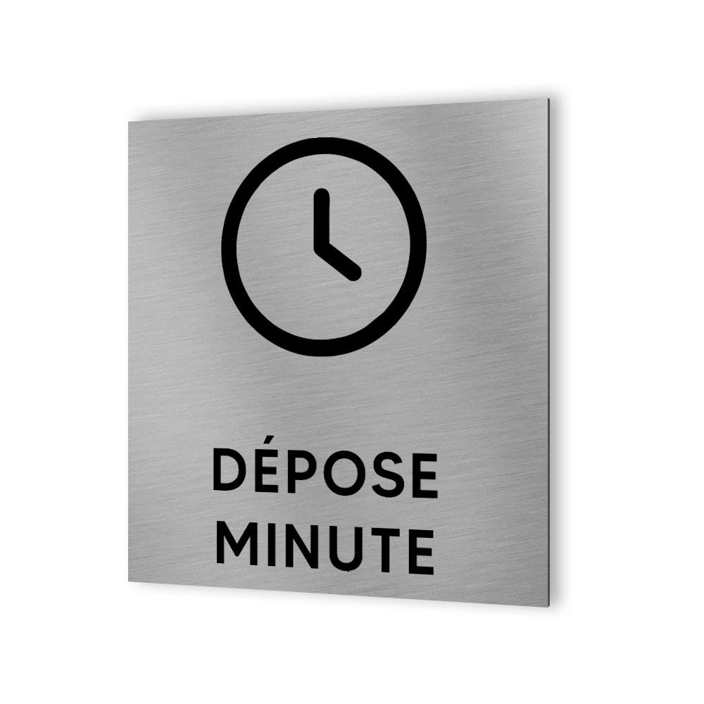 Pictogramme panneau signalétique format 20 cm x 20 cm en Dibond Aluminium brossé - Modèle Dépose minute parking