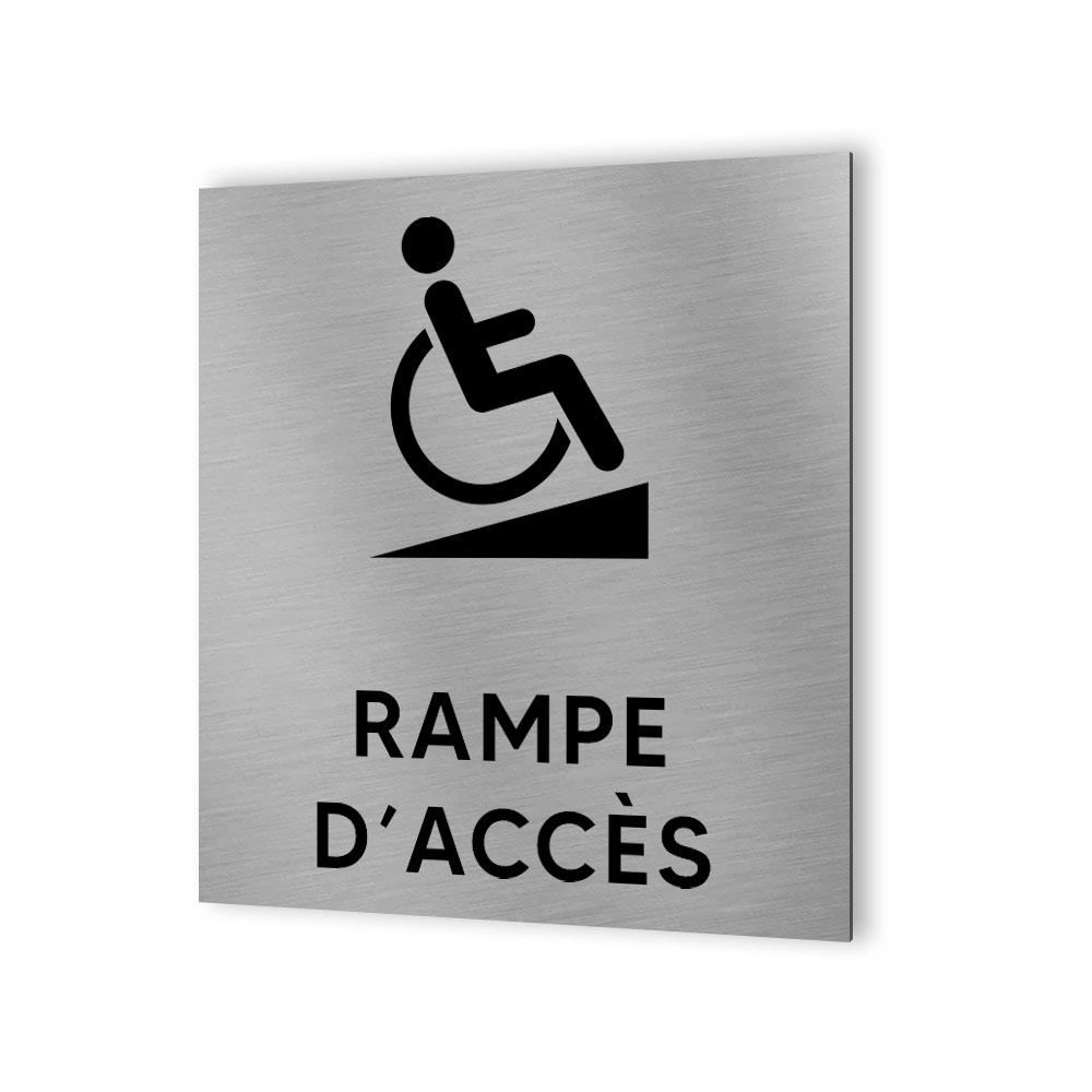 Pictogramme panneau signalétique format 20 cm x 20 cm en Dibond Aluminium brossé - Modèle Rampe PMR Handicap