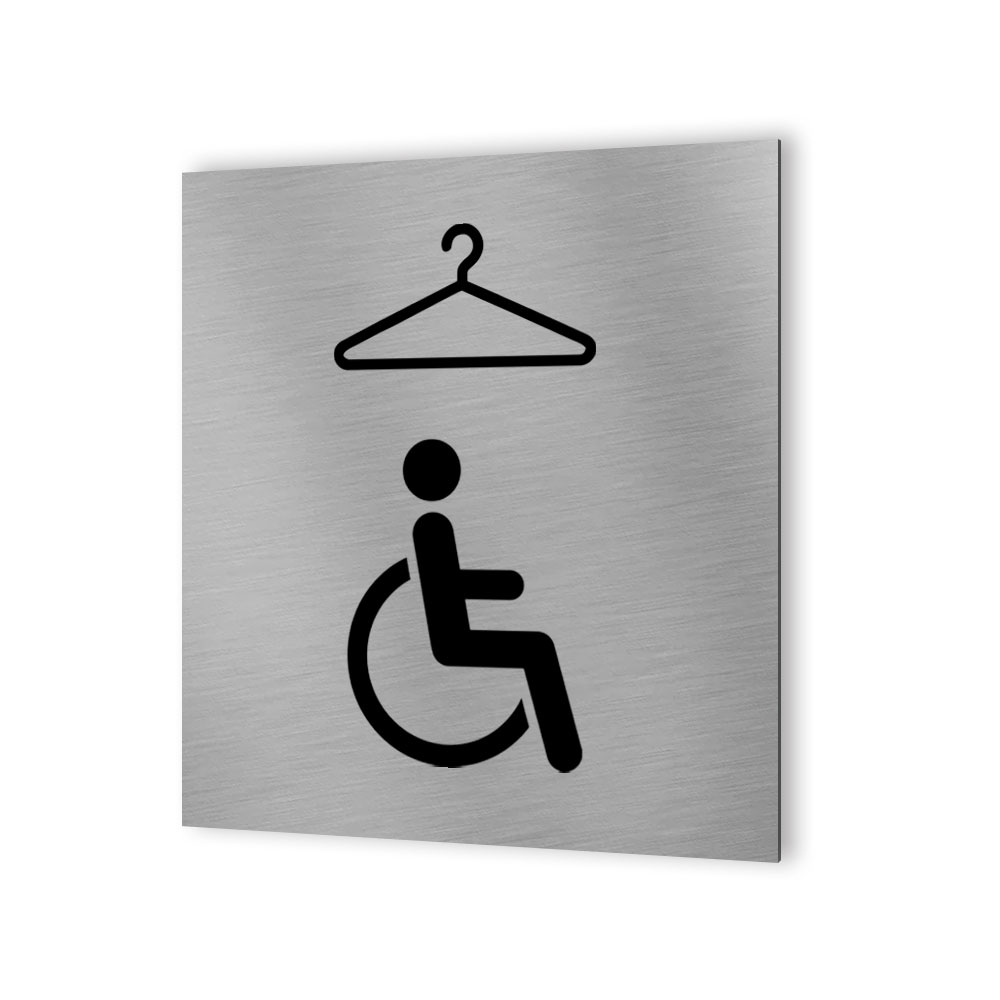 Pictogramme panneau signalétique format 20 cm x 20 cm en Dibond Aluminium brossé - Modèle Vestiaire PMR Handicapé