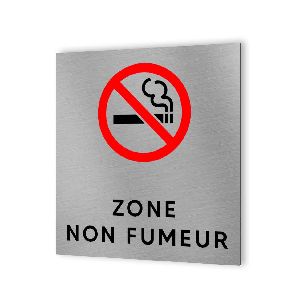 Pictogramme panneau signalétique format 20 cm x 20 cm en Dibond Aluminium brossé - Modèle Zone non fumeur