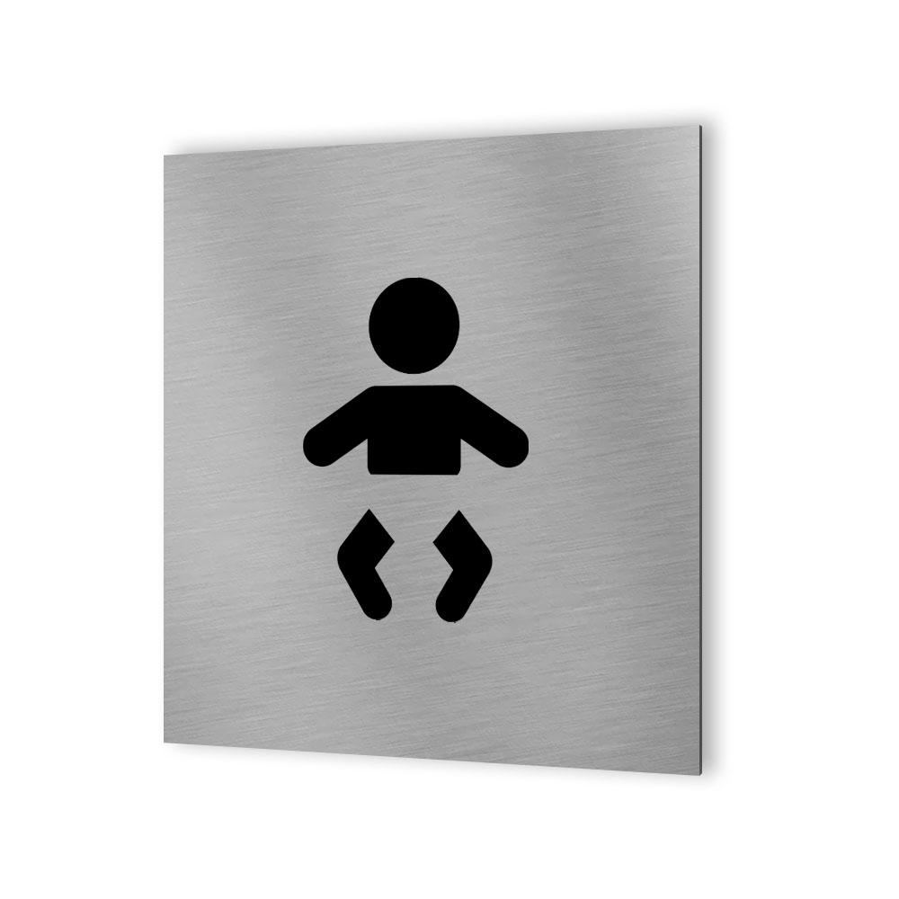 Pictogramme panneau signalétique WC format 20 cm x 20 cm en Dibond Aluminium brossé - Modèle toilettes change bébé