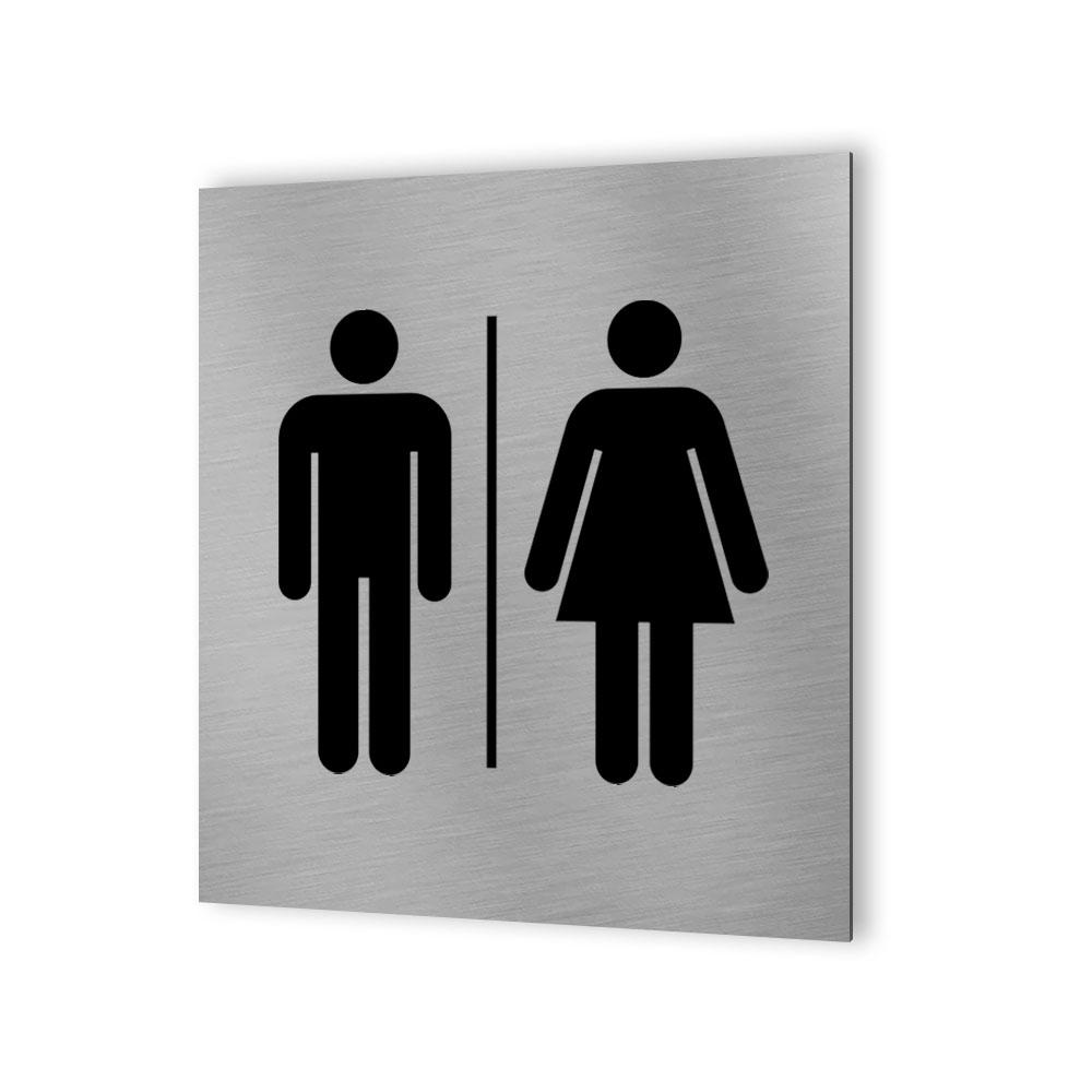 Pictogramme panneau signalétique WC format 20 cm x 20 cm en Dibond Aluminium brossé - Modèle toilettes Homme / Femme