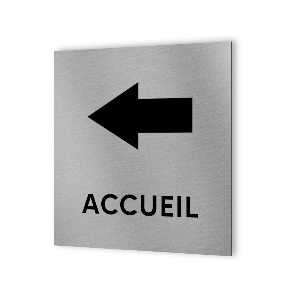 Pictogramme panneau directionnel format 20 cm x 20 cm en Dibond Aluminium brossé - Modèle Accueil