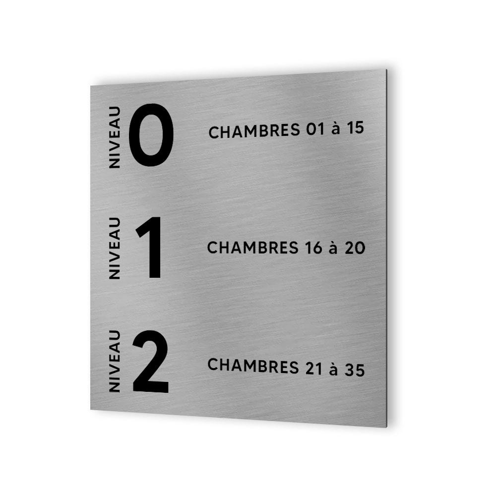 Panneau numéros de chambres et d'étage pour hôtel - Format 20 cm x 20 cm en Dibond Aluminium brossé -  Numéros personnalisables