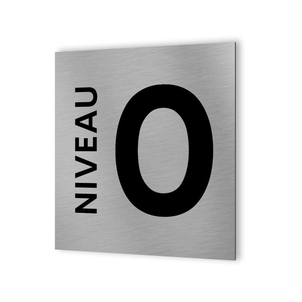 Panneau numéro d'étage pour entreprise, immeuble - Format 20 cm x 20 cm en Dibond Aluminium brossé