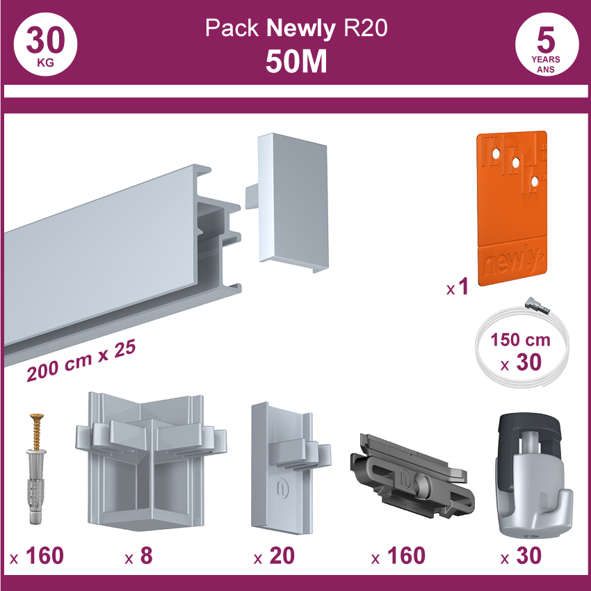 50 mètres Aluminium anodisé : Pack complet cimaises Newly R20