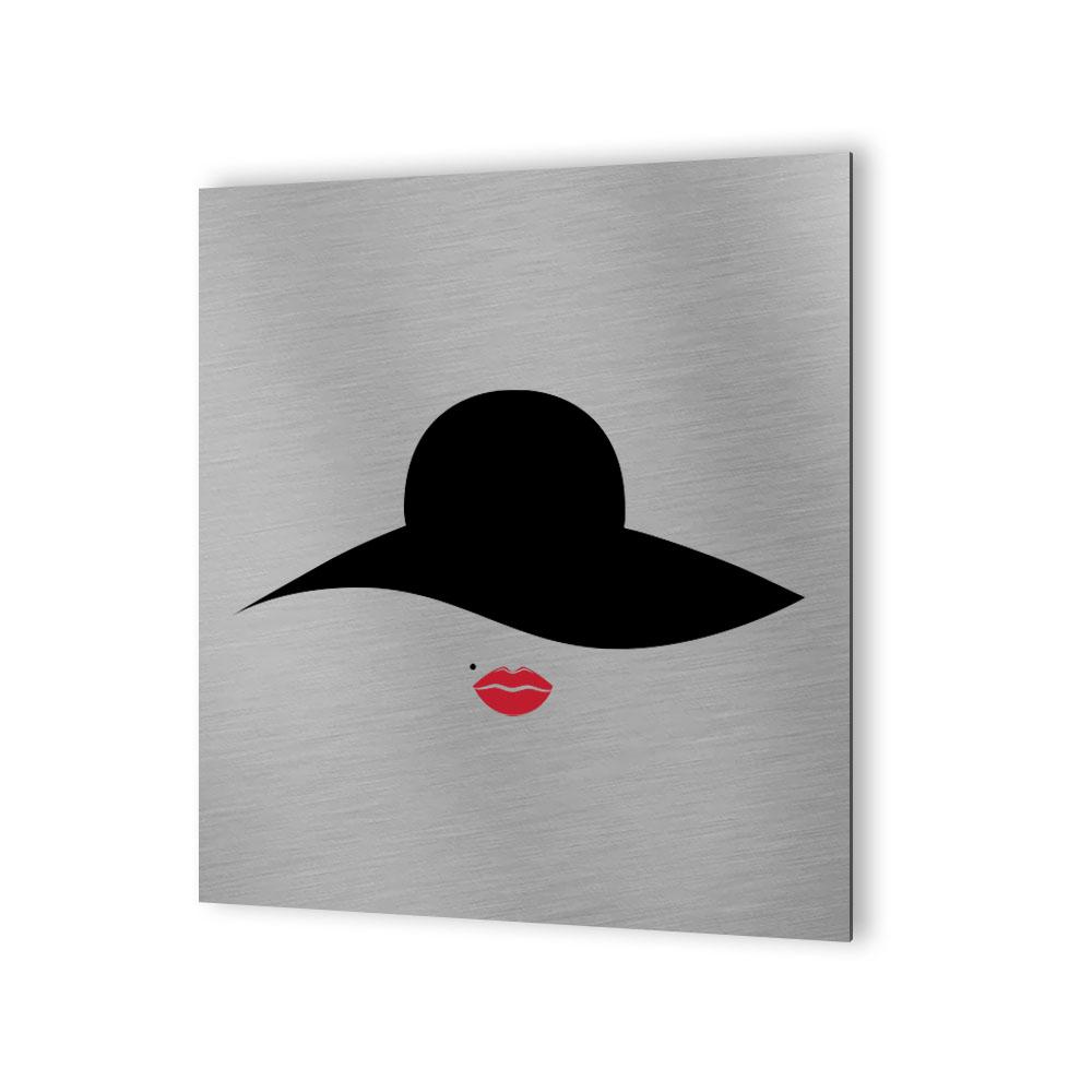 Pictogramme WC toilettes vestiaire Femmes format 30 cm x 30 cm  - Modèle Rétro vintage Femme