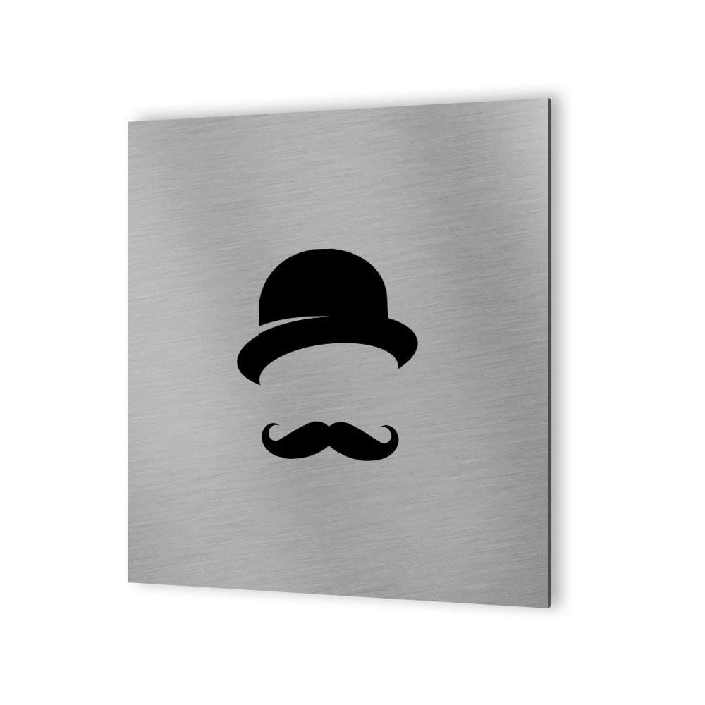 Pictogramme WC toilettes vestiaire Hommes format 30 cm x 30 cm  - Modèle Rétro vintage Homme