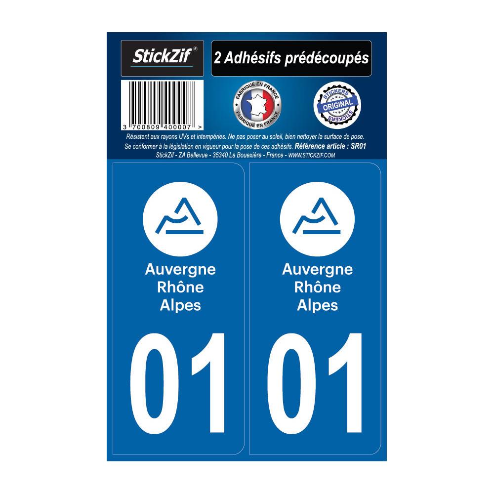 2 autocollants stickers plaque immatriculation Région Auvergne Rhône Alpes - Département 01 Ain Officiel