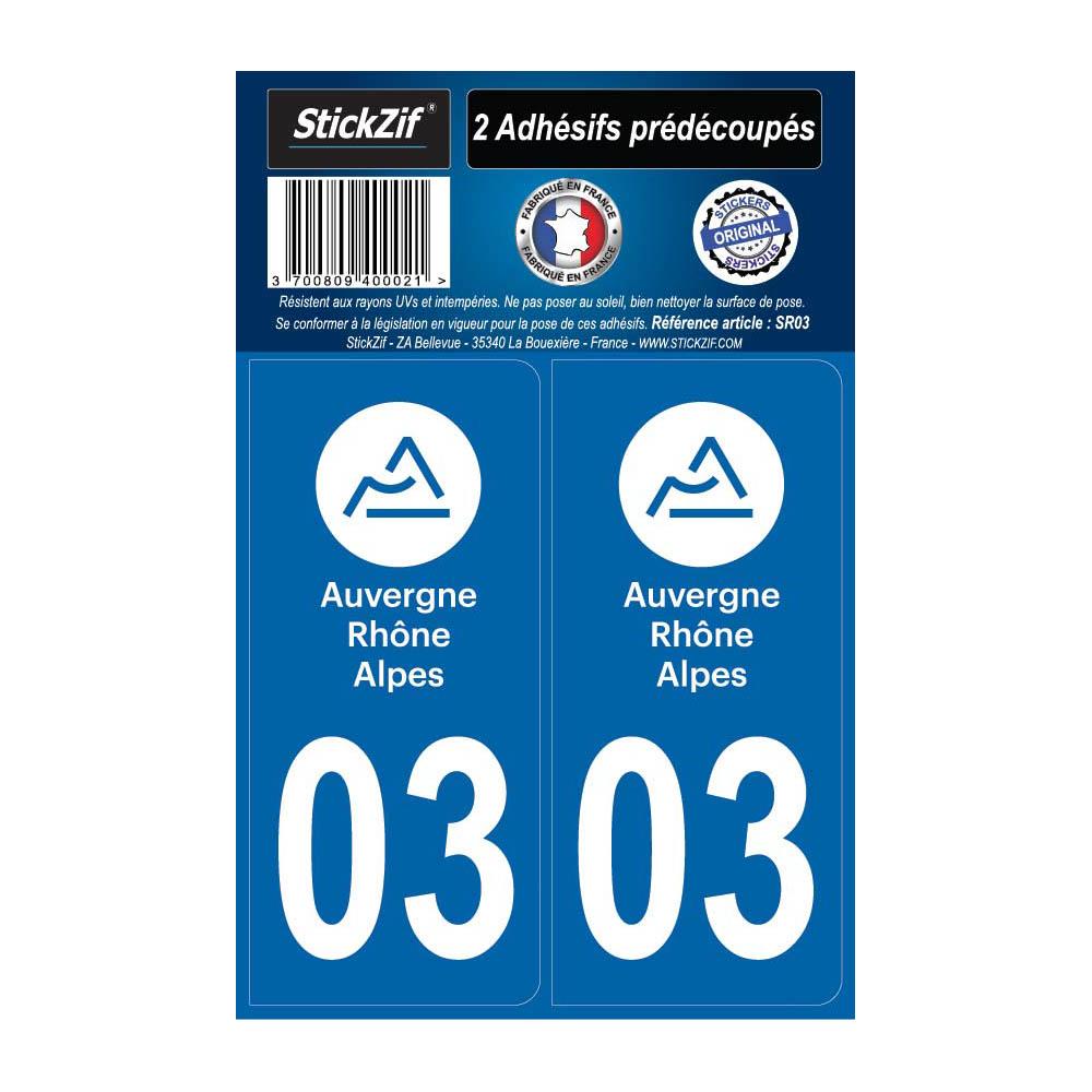 2 autocollants stickers plaque immatriculation Région Auvergne Rhône Alpes - Département 03 Allier Officiel